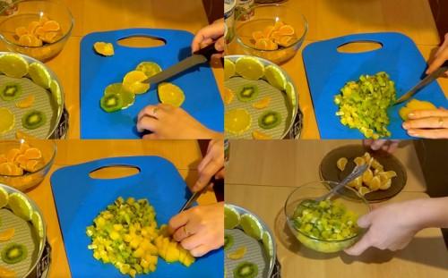 Нарезанные фрукты, персики
