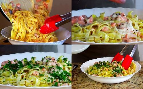 Выкладываем готовую пасту в тарелку, перчим и украшаем свежей петрушкой