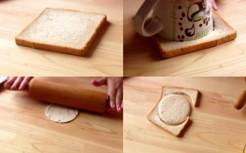 Формируем кружочки из хлеба