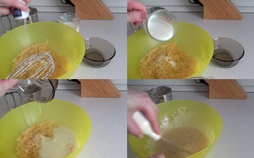 Солим, добавляем соду, кефир и масло