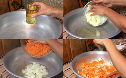 Обжариваем лук и морковь