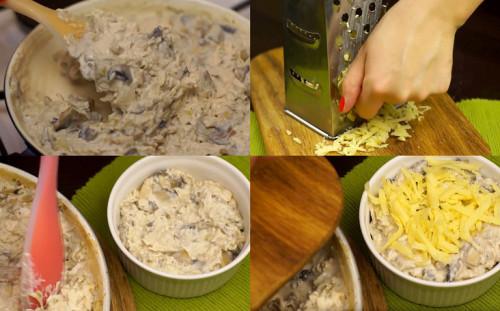 Накладываем жульен и посыпаем сыр