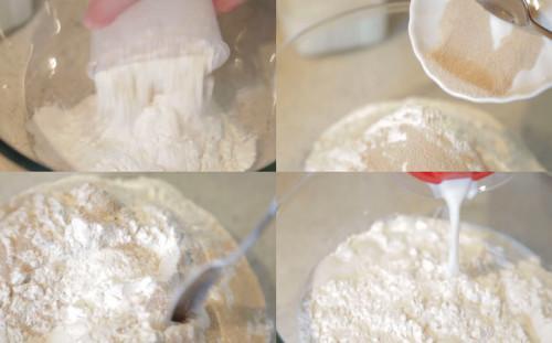 Смешивае6м муку, дрожжи и молоко с сахаром
