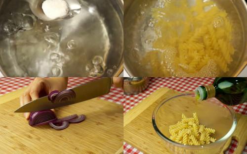 Готовим пасту, режем лук
