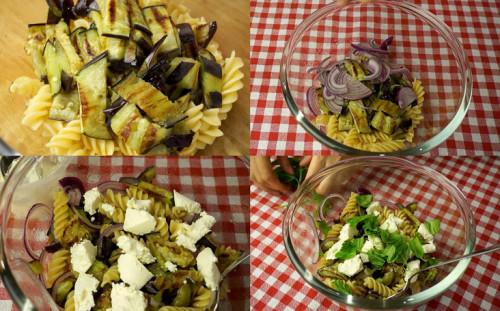 добавляем лук, сыр и базилик