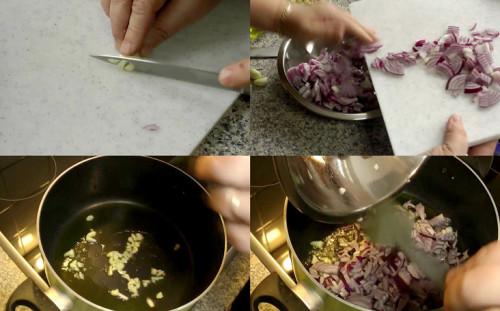 Нарезаем чеснок и лук