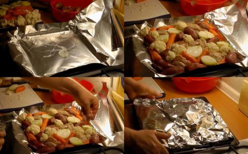 Выкладываем мясо и овощи