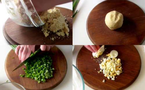 Вымешиваем тесто, нарезаем начинку