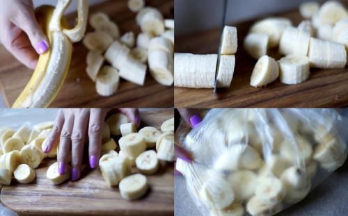 Чистим, режем и замораживаем бананы