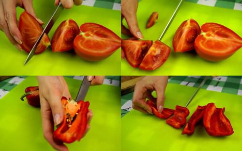 Нарезаем помидоры и болгарский перец