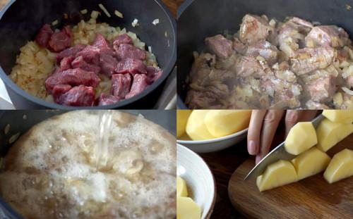 Тушим мясо