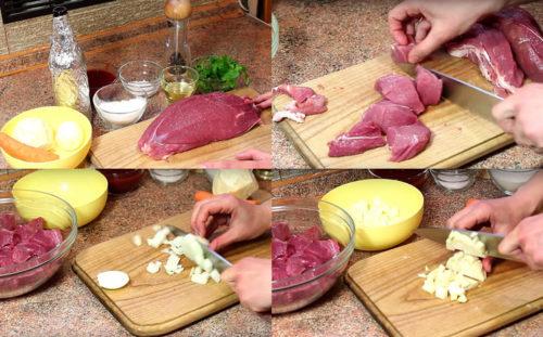 Режем мясо, лук, сельдерей