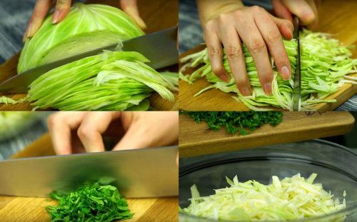 Нарезаем капусту и зелень