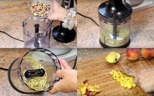 Измельчаем орехи и персики
