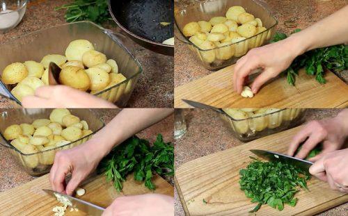 Картофель, чеснок, зелень