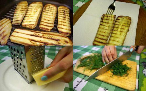 Баклажаны, сыр, зелень