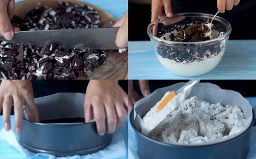 Измельчаем печенье и смешиваем