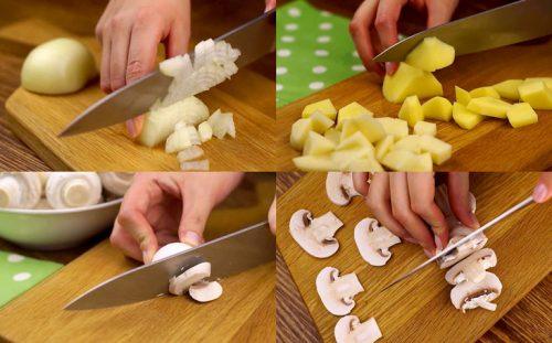 Режем лук, картошку, грибы