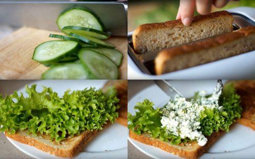 Огурцы, зелень, тосты